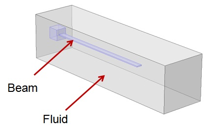 Model of Immersed Beam in Fluid