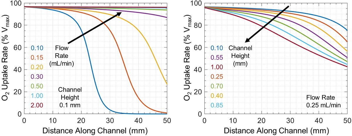 Oxygen uptake rate relative to Vmax as a function of distance along the microchannel
