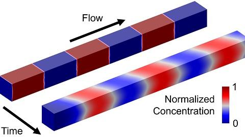 A microfluidic channel contains alternating fluid slugs, one of which contains a reagent (red) and the other of which (blue) does not.  Adjacent fluid components mix together over time in this advection-diffusion problem.